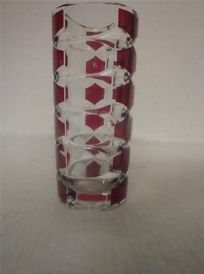 VINTAGE J.G DURAND GEOMETRIC RUBY RED AND CLEAR VASE 17cm TALL.