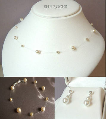 Pearl Illusion Bridal Bridesmaids Necklace, Bracelet And Earrings Jewellery Set
