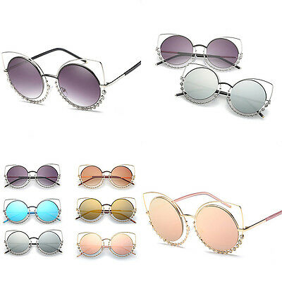 HOT Women Sunglasses Vintage Cat Eye Metal Mirror Shades Summer UV400 Design