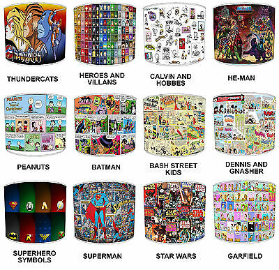 Children`s Lampshades Ideal To Match Children`s Comic Book Super Heroes Duvets.