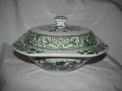 green transferware vintage WOOD WESTMINSTER floral toile TUREEN SERVING BOWL