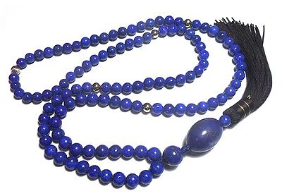 401ct Quality ROYAL BLUE 14K Afghanistan Lapis Lazuli 108 Round Bead 7mm Prayer