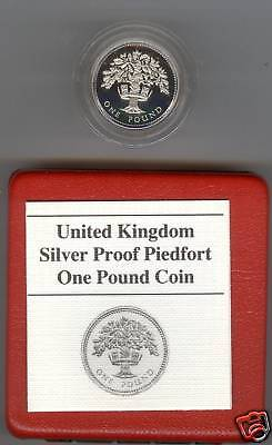 1987 Boxed Piedfort Proof £1 English Oak Tree