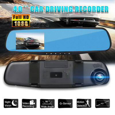 4.0'' HD Car Rearview Mirror Monitor Dash Camera DVR Cam Video Recorder