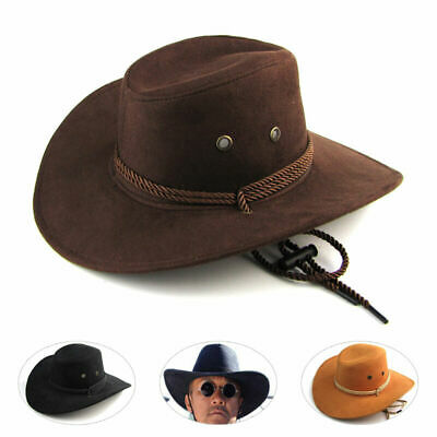 New Men Women Unisex Faux Leather American Cowboy Western Style Hats Fancy Hat