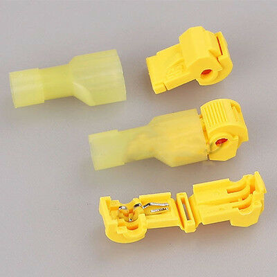 10Pcs Yellow Electrical Cable Connectors Quick Splice Lock Wire Terminals Crimp