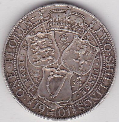 1901 Victoria Old Head Silver Florin In Near Very Fine Condition