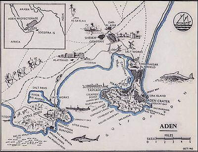 Aden Protectorate / Arabia Original Map Very Useful For Reference