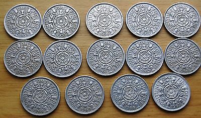 Consecutive Date Run Of 14 Queen Elizabeth II Florin Two Shillings Coins 1954-67