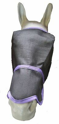 Ecotak Fly Mask/Veil with contoured nose flap Black with Purple Trim  Ecotak
