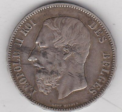 1875 Belgium Silver 5 Franc In Very Fine Condition