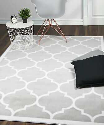 Large Modern Geometric Moroccan Trellis Thin Carpet Silver Contemporary Area Rug
