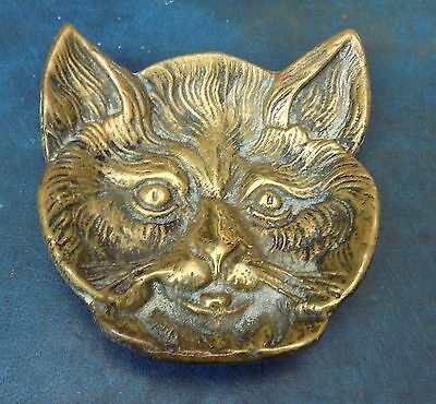 Superb Vintage Collectable Solid Heavy Brass Cat Pin Tray Ornament