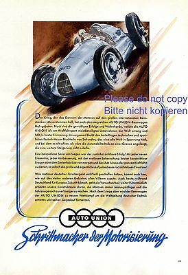 Autounion Audi german ad 1944 !!! extremly rare racing car ad Germany WW2 +