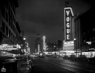 """1946 Granville Street at Night, Vancouver, Canada Vintage Photograph 8.5"""" x 11"""""""
