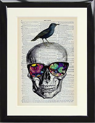 Dictionary Art Print Sugar Skull Glasses Butterfly Bird Vintage Picture Frame