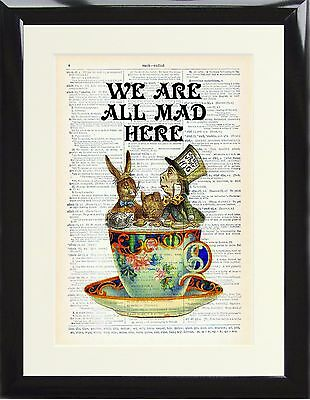 Framed Dictionary Art Print Alice in Wonderland All Mad Here Mad Hatter Rabbit