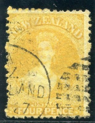 New Zealand 1866 QV 4d yellow very fine used. SG 120. Sc 35.