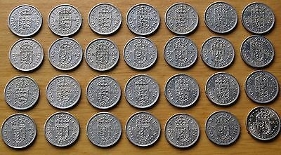 Date Run Of QEII Shilling Coins 1953-66 Both English & Scottish 28 In Total