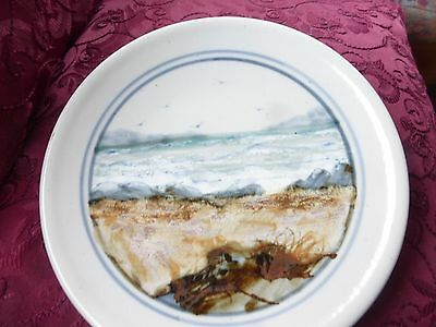 HIGHLAND STONEWARE SCOTLAND Hand Painted Wall Plate 20cm Seascape