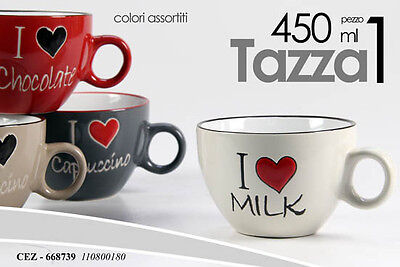 Tazza Da Latte Colazione Porcellana I Love 450 Ml Decori Ass Cez 668739