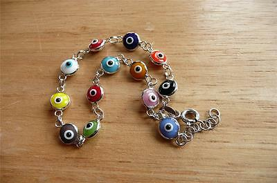 925 Sterling Silver Multi Coloured Glass Evil Eye Link Small Bracelet 7Ins