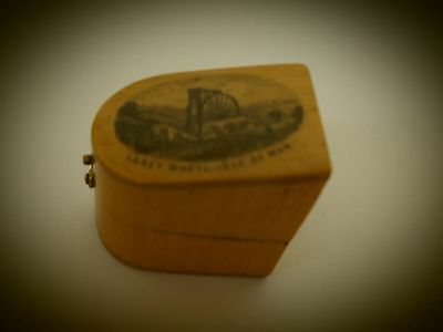 Antique Mauchline Ware thimble case holder, view of laxey wheel isle of man