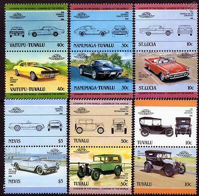 CHEVROLET Collection of 12 Car Stamps (Auto 100 / Leaders of the World)