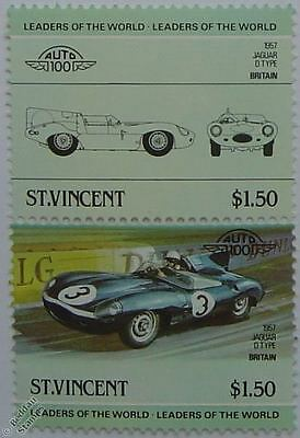 1957 JAGUAR D-TYPE Car Stamps (Leaders of the World / Auto 100)