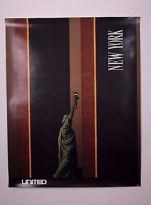 Vintage United Airlines New York City Twin Towers Advertising Travel Poster