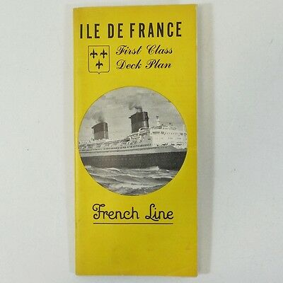 SS Ile De France First Class Deck Plan French Line Color Coded, Many Photos