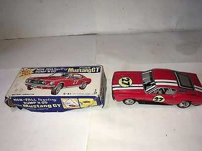 Vintage Taiyo Bump N Go Ford Mustang GT Battery Operated Tin Plate Car