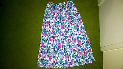 Green Pink Blue Pleated  Floral Vintage Long Skirt  12 1970's Sissy St Michael