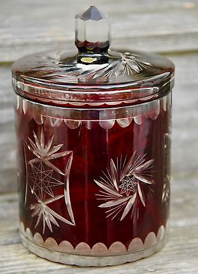 """Ruby Red Glass Cut To Clear Apothecary Storage Jara.a.importing St Louis Mo 10""""h"""