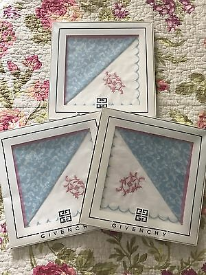 3 Sets of TWO Givenchy Embroidered Cotton Hankie Handkerchiefs NWB