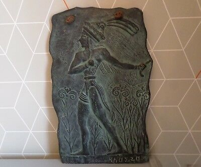 VINTAGE KNOSSOS,MINOAN FIGURE BRONZE ART POTTERY WALL PLAQUE replica antiquity