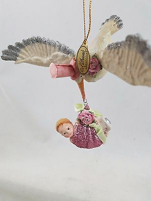 Baby Girl with Flying Stork Ornament NEW Adorable Katherine's Collection