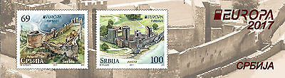 Serbia 2017 Europa CEPT, Fortresses, Castles, booklet B with 2 sets + labels MNH