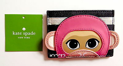 Kate Spade Leather Rambling Roses Monkey Credit Card Case NWT