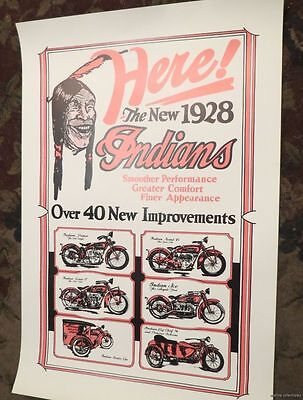 1928 INDIAN MOTORCYCLE 20S AD ADVERTISEMENT POSTER chief service car Scout Ace