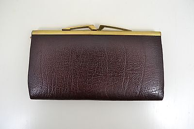 VINTAGE 1960s WOMENS BROWN LEATHER BUFFALO CALF PURSE WALLET ENGLISH MADE