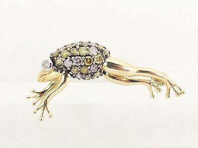 14K Gold Diamond Gemstone Accents Jumping Frog Brooch Pin Signed DC Free S/H