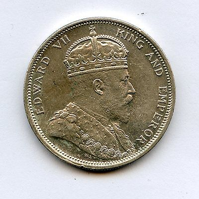 1904 Straits Settlements Silver One Dollar UNC Details Lightly Cleaned