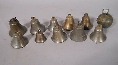NICE Lot Of Eleven Brass Or Bronze ANTIQUE Bells VARIOUS SIZES