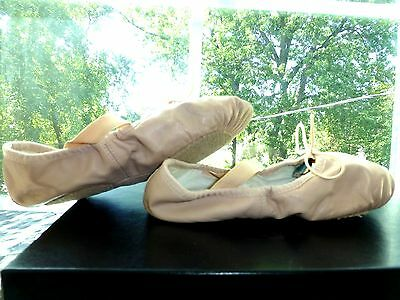 THEATRICALS Peach Pink Beige LEATHER Girls BALLET SLIPPERS Shoes DANCE 12 M