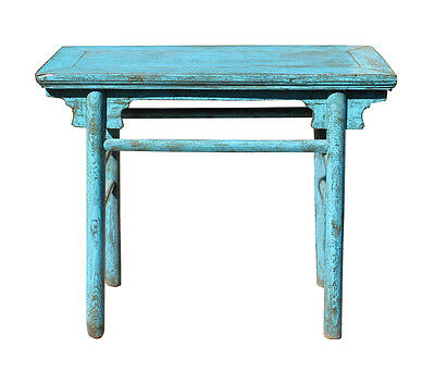 Chinese Rustic Rough Wood Distressed Blue Side Table cs2728