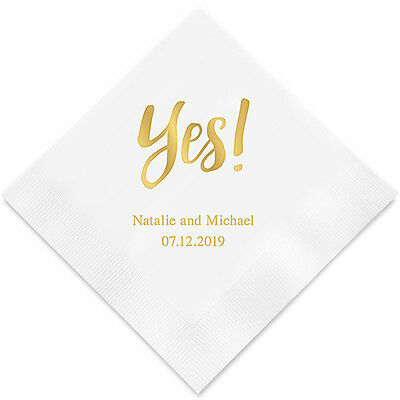 100 Yes! Personalized Wedding Cocktail Napkins