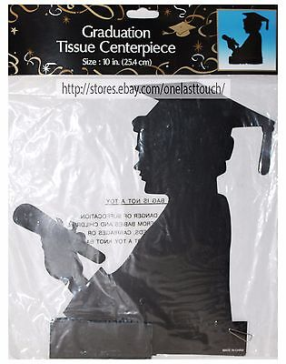 "MOMENTUM* 10"" Tissue+Paper GRADUATION CENTERPIECE Student/Party Decoration BLACK"