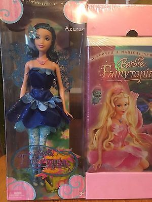 Mattel Barbie Fairytopia Azura Blue Hair Doll and VHS movie NEW 2004