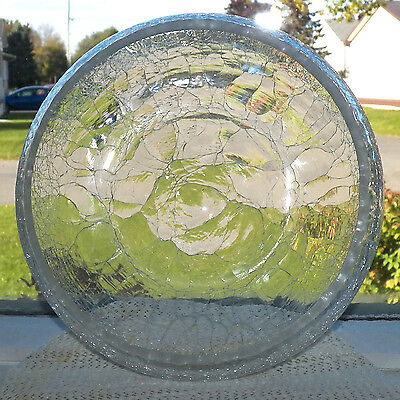 Clear White Crackle Glass Centerpiece For Dried Flowers Or Votive Candle Holder
